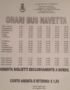 Lingueglietta and Cipressa & Mare Bus Time Table - Lingueglietta e comune di Cipressa & orari del Mare Bus.